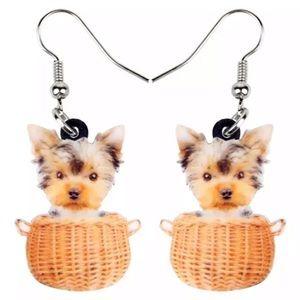 Yorkshire Terrier Puppy Dog Basket 2D Earrings